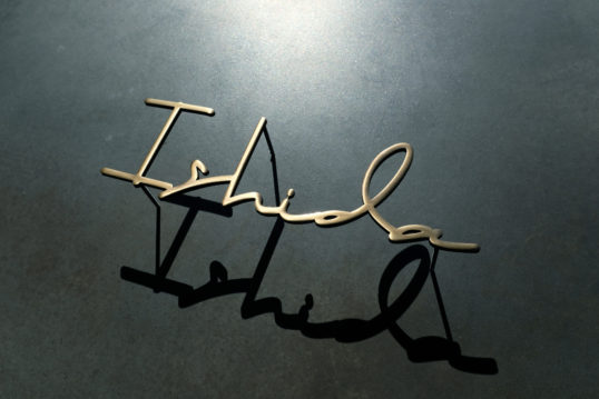 ステンレス切り文字表札 マットゴールド